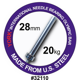York 32110 7FT International Men's Needle-bearing Olympic Training Bar (28MM)