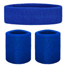 GOGO Thick Solid Color Sweatband Set (1 Headband + 2 Wristbands)