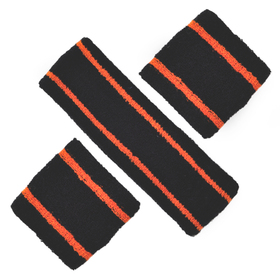 GOGO 10011 Striped Sports Sweatband Set (1 Headband + 2 Wristbands)