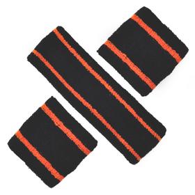 GOGO Two Color Stripe Sweatband Set (1 Headband + 2 Wristbands)