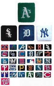 "GOGO 10023 3"" Embroidered MLB Team Logo Sports Wristband/Sweatband, Price/Piece"