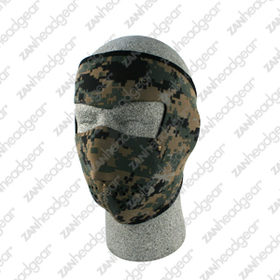 Zan Headgear Neoprene Face Mask, Digital Green Camouflage