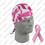 Zan Headgear Flydanna , 100% Cotton, Pink Ribbon, White