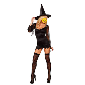 TOPTIE Witch Costume, Adult Halloween Costume - Spider Net Sleeves, Christmas Gift Idea