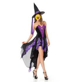 TOPTIE Witch Costume, Purple High-Low Dress, Halloween Costume, Cosplay Costume