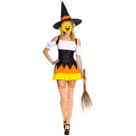 TOPTIE Witch Costume, Womens Halloween Costume - Orange, Christmas Gift Idea