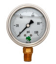 (10 Pcs @ $9.5 Pcs) Zenport LPG100 PRESSURE GAUGES - 63mm Glycerin 'Liquid' Filled Pressure Gauges, 0 - 100 psi