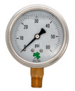 Zenport LPG60 PRESSURE GAUGES - 63mm Glycerin 'Liquid' Filled Pressure Gauges, 0 - 60 psi SS case
