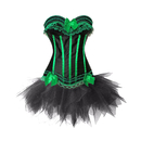 MUKA Burlesque Green Lace Trim Corset Bustier Tutu Costume Set For Halloween