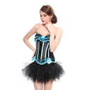 MUKA Burlesque Lake Blue & Black Corset And Petticoat, Panty Included, Gift Idea