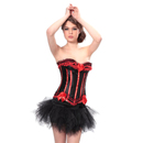 MUKA Burlesque Red & Black Corset And Petticoat, Panty Included, Gift Idea