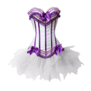 MUKA Burlesque Purple & White Corset And Petticoat, Panty Included, Gift Idea