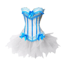 MUKA Burlesque Lake Blue & White Corset And Petticoat, Panty Included, Gift Idea