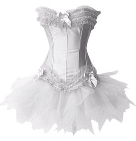 MUKA Burlesque Corset And Petticoat, White Halloween Costume, Gift Idea