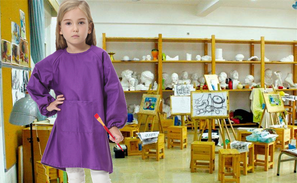 cotton canvas smock features long sleeves