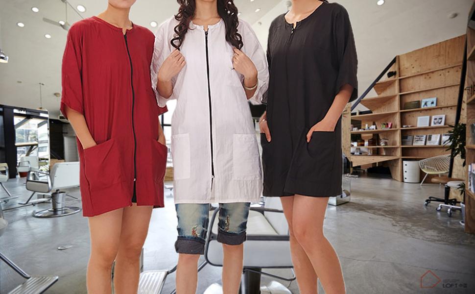 Unisex Men&Women Waterproof Uniform Smock Barber Cape Salon Nylon with Sleeves, Pockets and Zipper