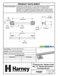 Product Data Specification Sheet Of A Bathroom Grab Bar, Contemporary, Square Escutcheon, 12 In. X 1 1/4 In. - Satin Stainless Steel Finish - Product Number 71847