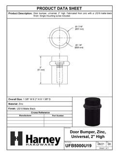 Product Data Specification Sheet Of A Universal Floor Stop, 2 In. High - Matte Black Finish - Product Number UFB5000U19