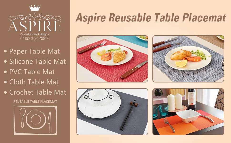 Set of 8 Aspire Placemat PVC Solid Table Mat Flexible Home Kitchen Dining Decor