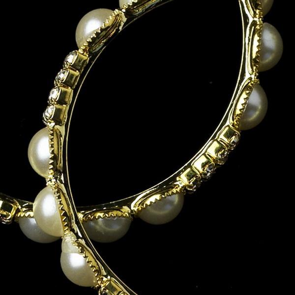 Gold Ivory Pearl Clear Rhinestone Hoop Earrings 8550