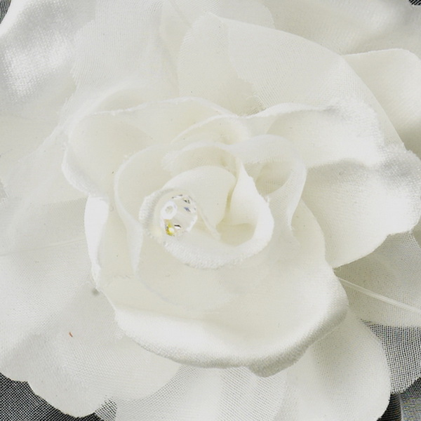 Fabric Flower & Swarovski Crystal AB Accent Clip 5284 (Ivory or White)