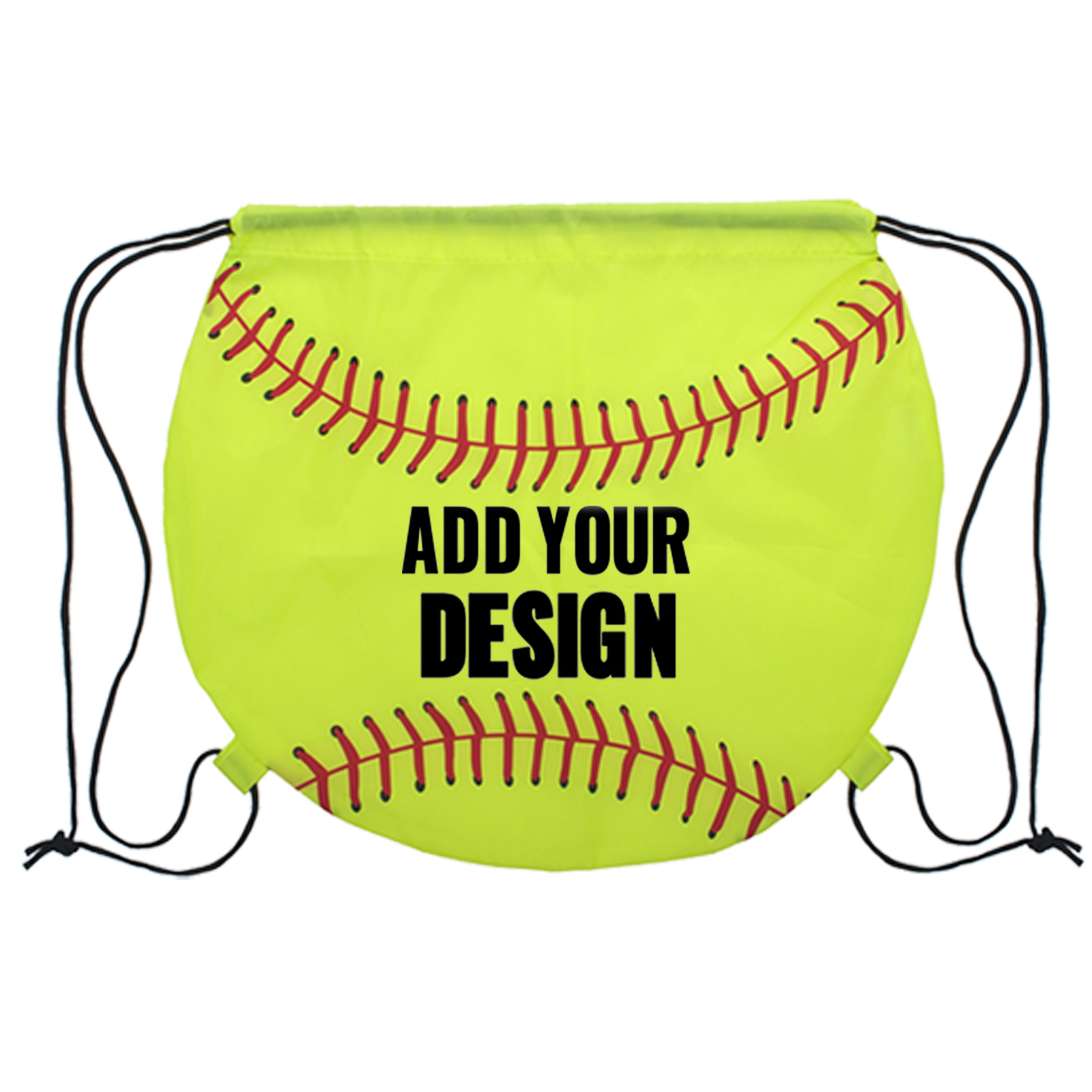 Customized Softball 210d Polyester Drawstring Backpack 14 H X 15 3 4 W