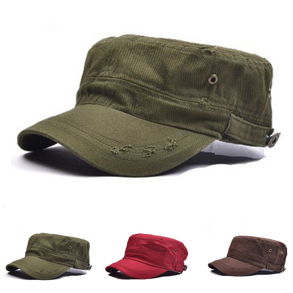 7b3447be74b Opentip.com  Opromo Unisex Distressed Washed Cotton Cadet Army Cap Flat Top  Military Style Cap