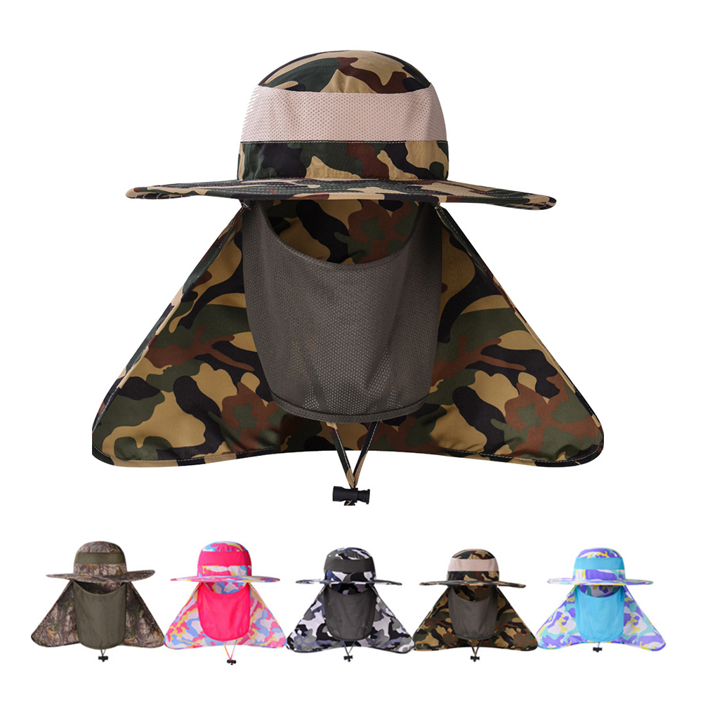 927bff677b0e1 Opentip.com  Opromo Sun Protection UV 50+ Fishing Cap Wide Brim Camouflage  Neck Face Flap Hat