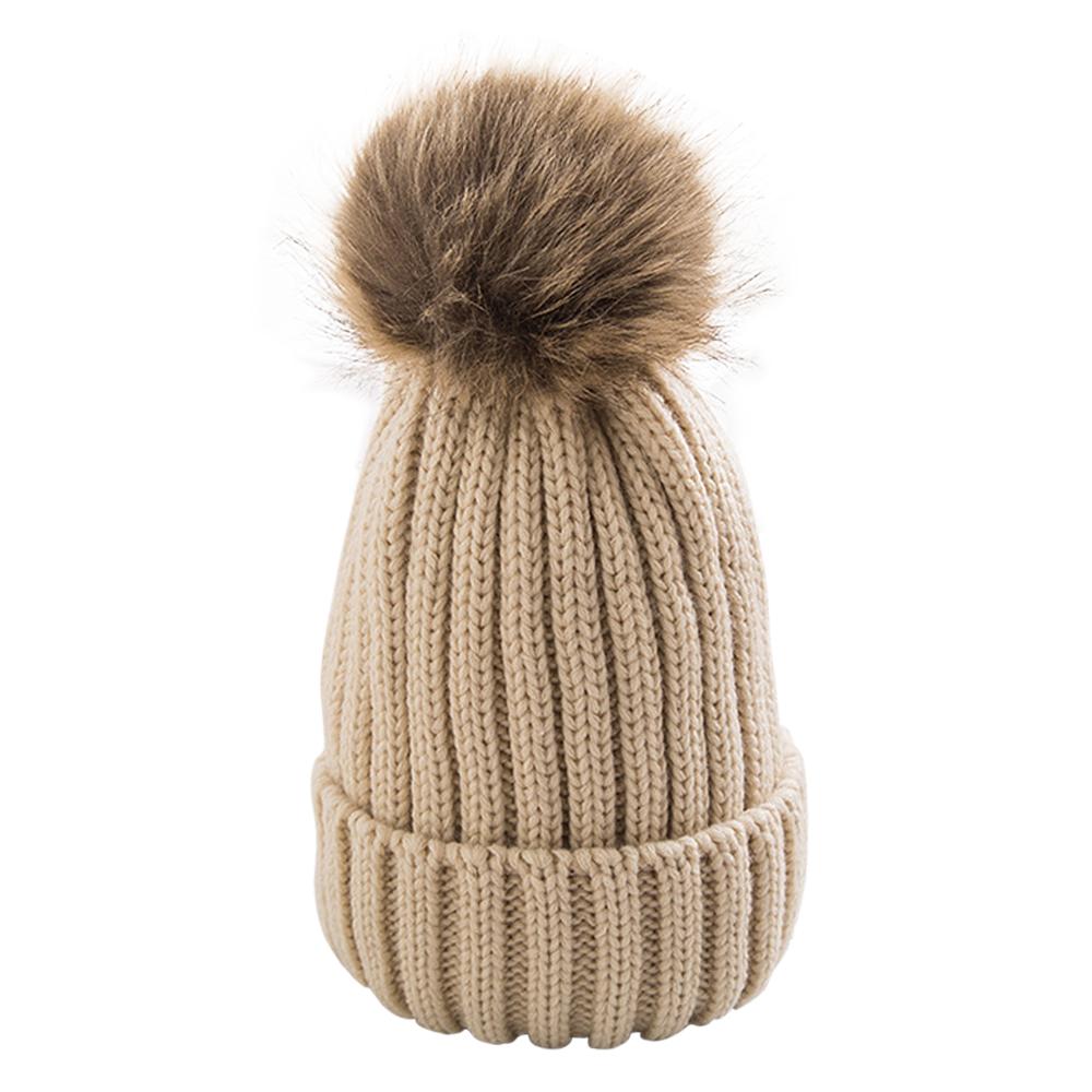 ed3238e743494 Opentip.com  Opromo Womens Girls Winter Knit Bobble Hat Faux Raccoon Fur  Pom Pom Beanie Hat