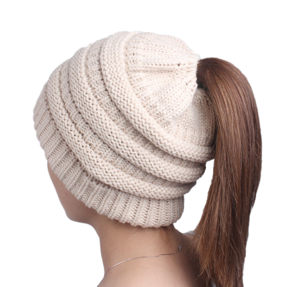 1bc2d4c50 Opromo Beanie Tail Womens Ponytail Messy Bun Hat Slouchy Chunky Knit Hat Cap