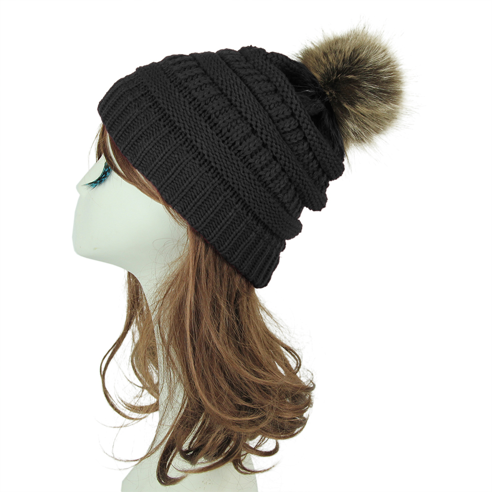 a199aafee9e Opentip.com  Opromo Women s Winter Faux Fur Pom Pom Hat Warm Chunky Cable  Knit Slouchy Beanie