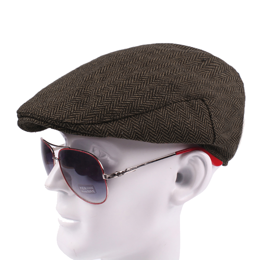 cc23d317b1ffdc Opentip.com: Opromo Classic Men's Tweed Herringbone Wool Blend Newsboy Ivy  Hat Cabbie Driving Cap