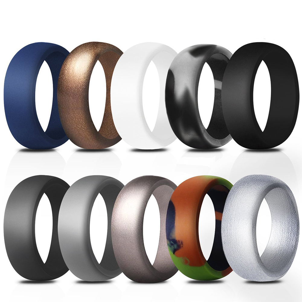 Rubber Wedding Bands.Price 10 Pcs Gogo Silicone Rings 10 Pack Rubber Wedding Bands For Men 8 7 Mm Wide