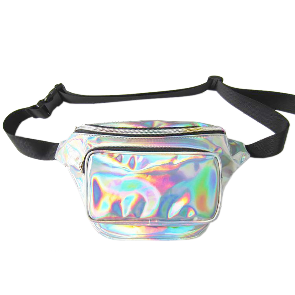 High Quality Holographic Festival Concert Rave Double Purse Zip Pocket Bum Bag