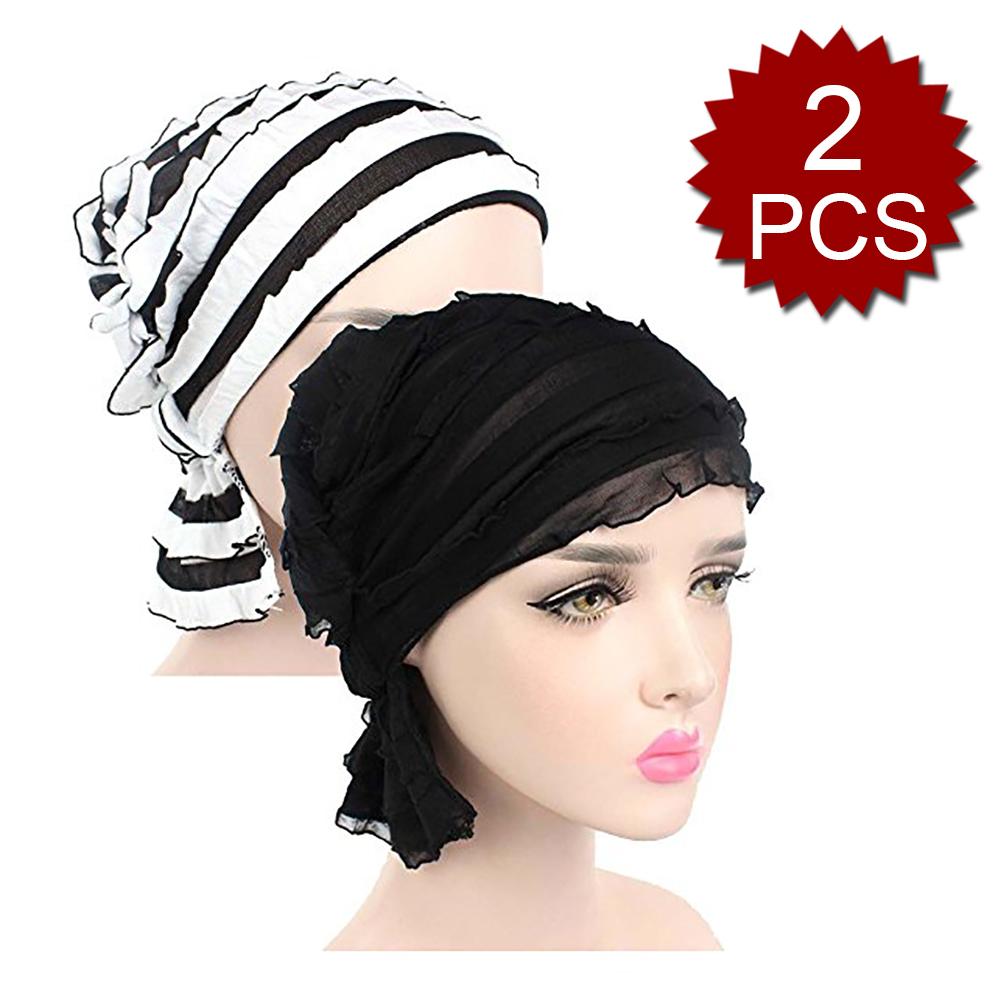 0b7aad6be5c68 Opentip.com  Opromo 2 Pack Women s Ruffle Chemo Hat Beanie Scarf ...