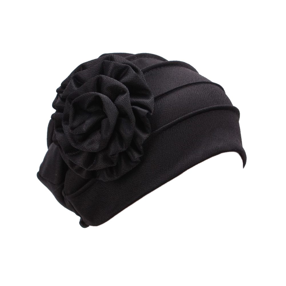 65ad0e5b69b Opentip.com  Opromo Women s Strench Side Flower Pleated Muslim Turban Chemo  Hat Cancer Cap