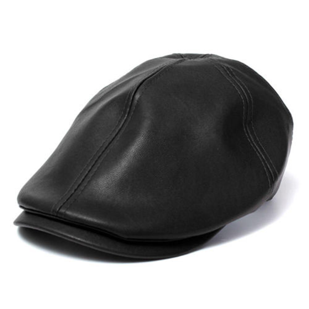 cc5930c79d1 Opentip.com  Opromo Mens Vintage PU Leather Newsboy Cap Flat Cap for  Outdoor Walking Driving