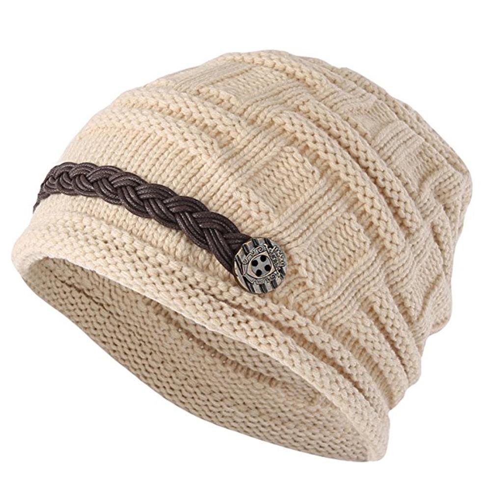4199b3c8605 Opentip.com  Opromo Women s Winter Knit Beanie Cap Warm Earmuffs Slouchy  Hat Button Strap Cap