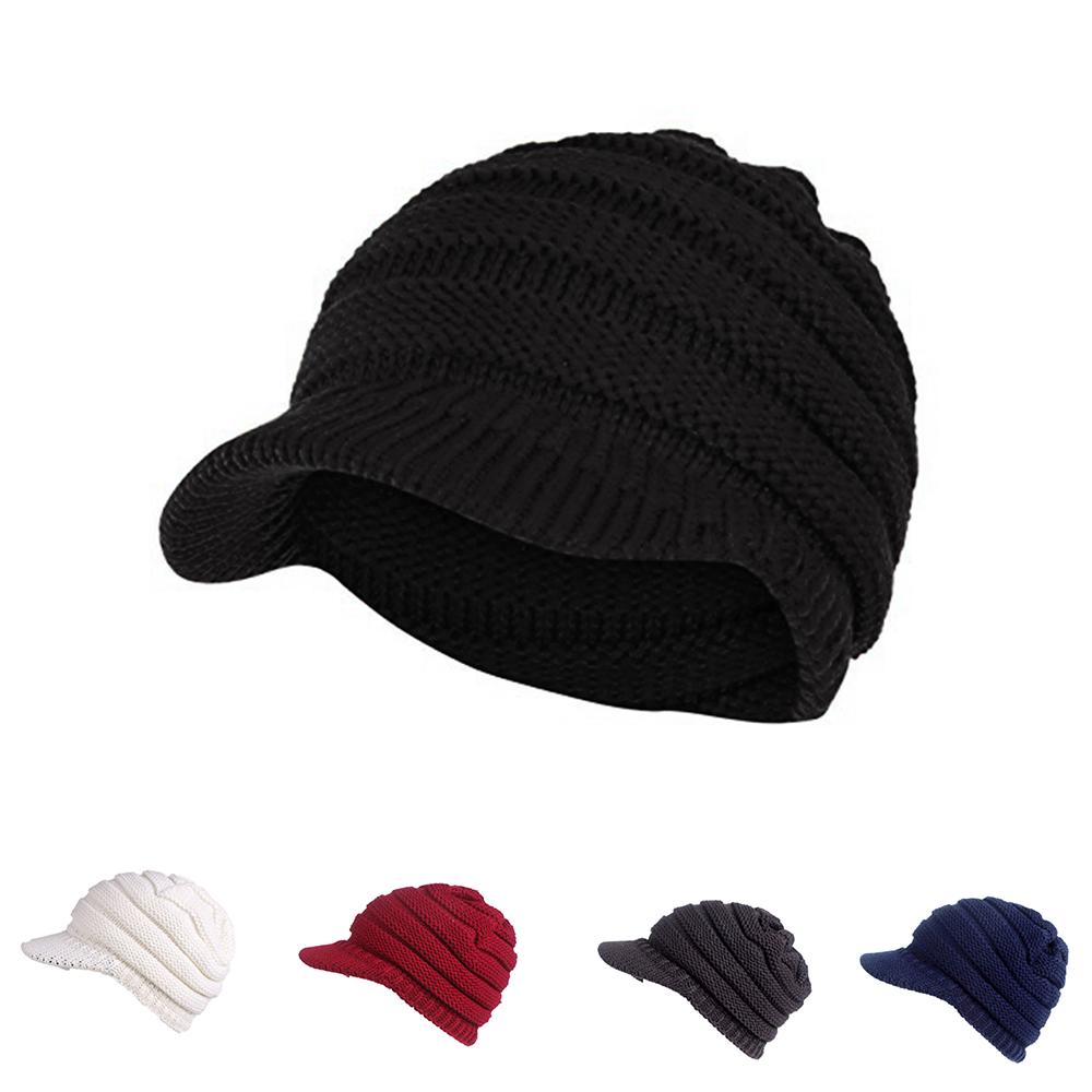 Warm Cable Ribbed Knit Beanie Hat w   Visor Brim – Chunky Winter Skully Cap 8ef57aecf05b