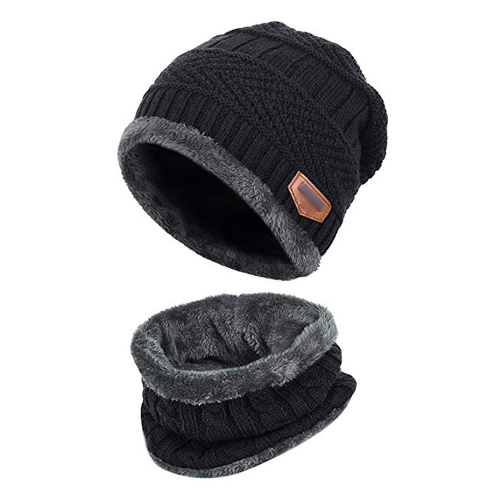 85f4ddb0435cb Opentip.com  Opromo 2PCS Thick Fleece Lined Winter Beanie Knit Hat ...