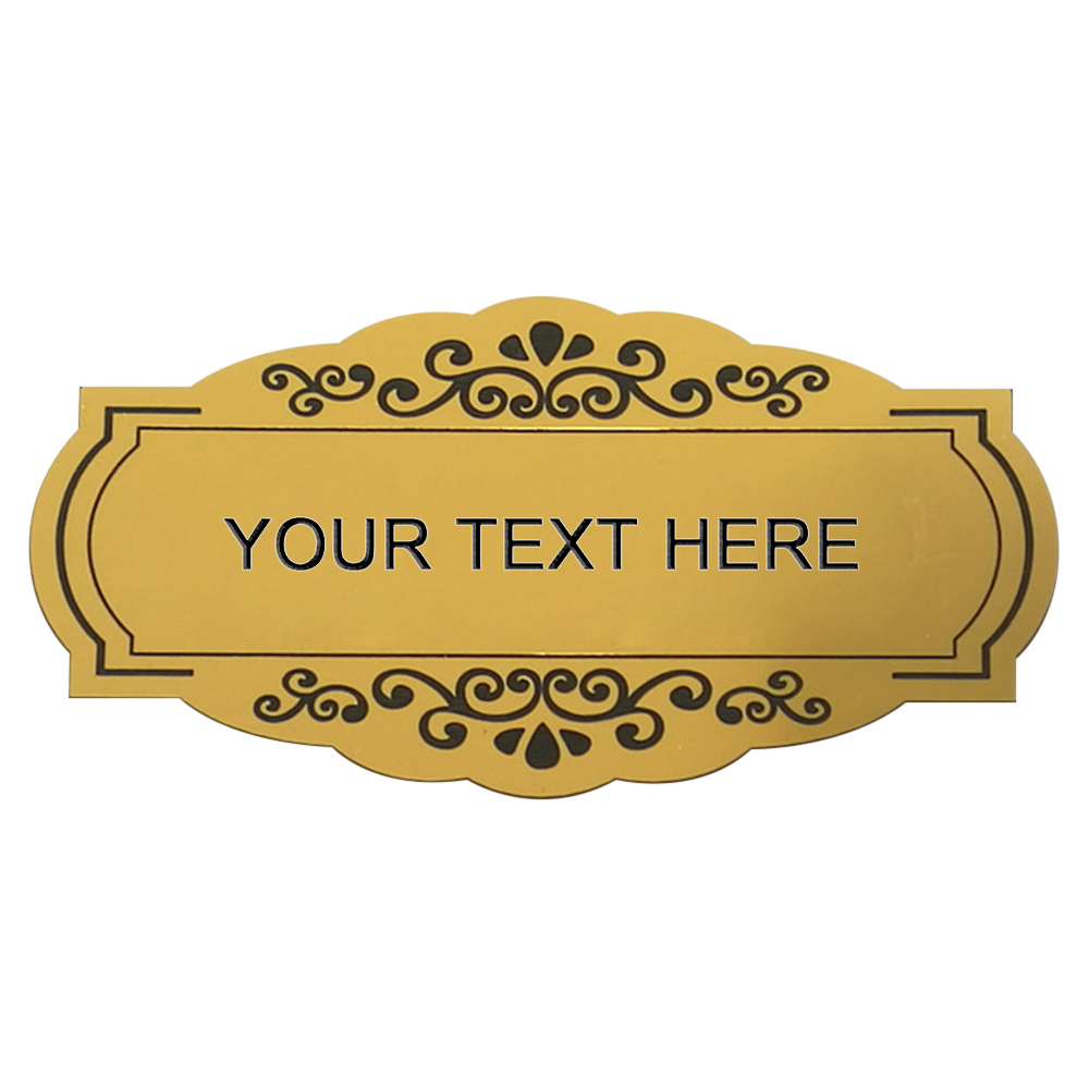 GOLD WHITE NUMBER or TEXT Oval plaque//sign  PERSONALISED TO YOUR NEEDS