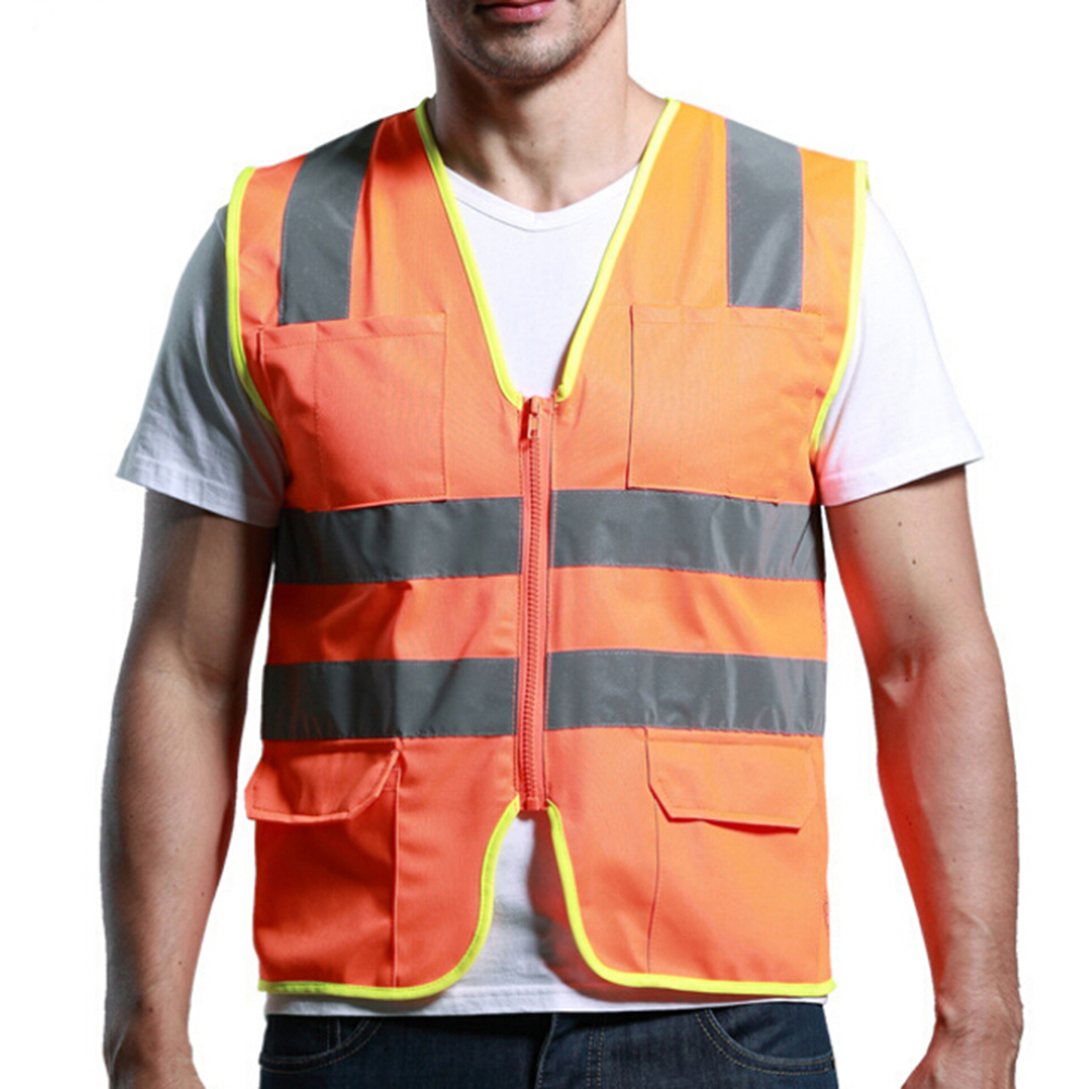 GOGO High Visibility Ultra Cool Mesh Surveyor Safety Vest with Reflective Strips & Pockets, Motorcycle, Bike Safety, Public Safety, Security Guard Safety Equipment