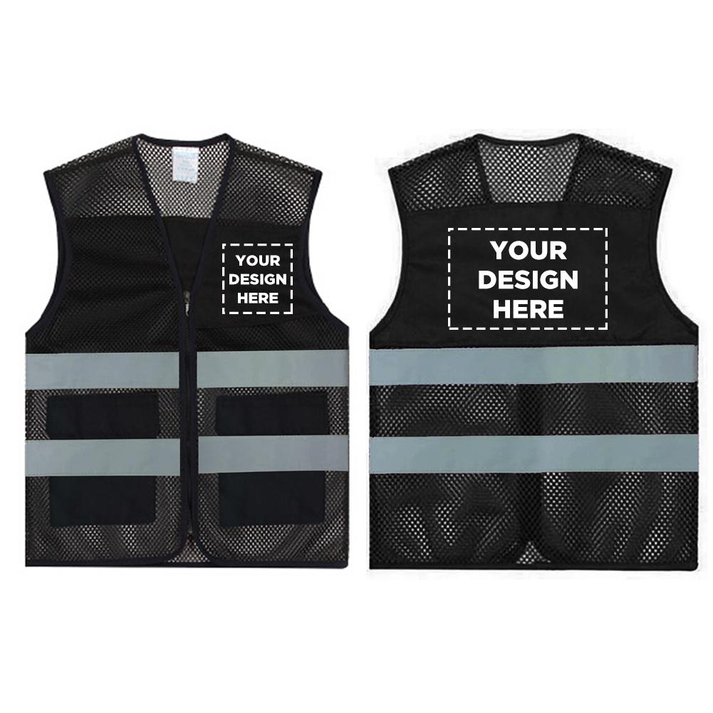 GOGO Custom 2 Pockets High Visibility Zipper Safety Vest