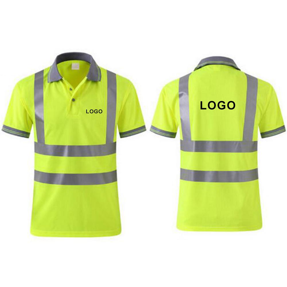 GOGO Custom Men's Polo Shirts Hi Vis Short Sleeve Safety Work wear Shirt