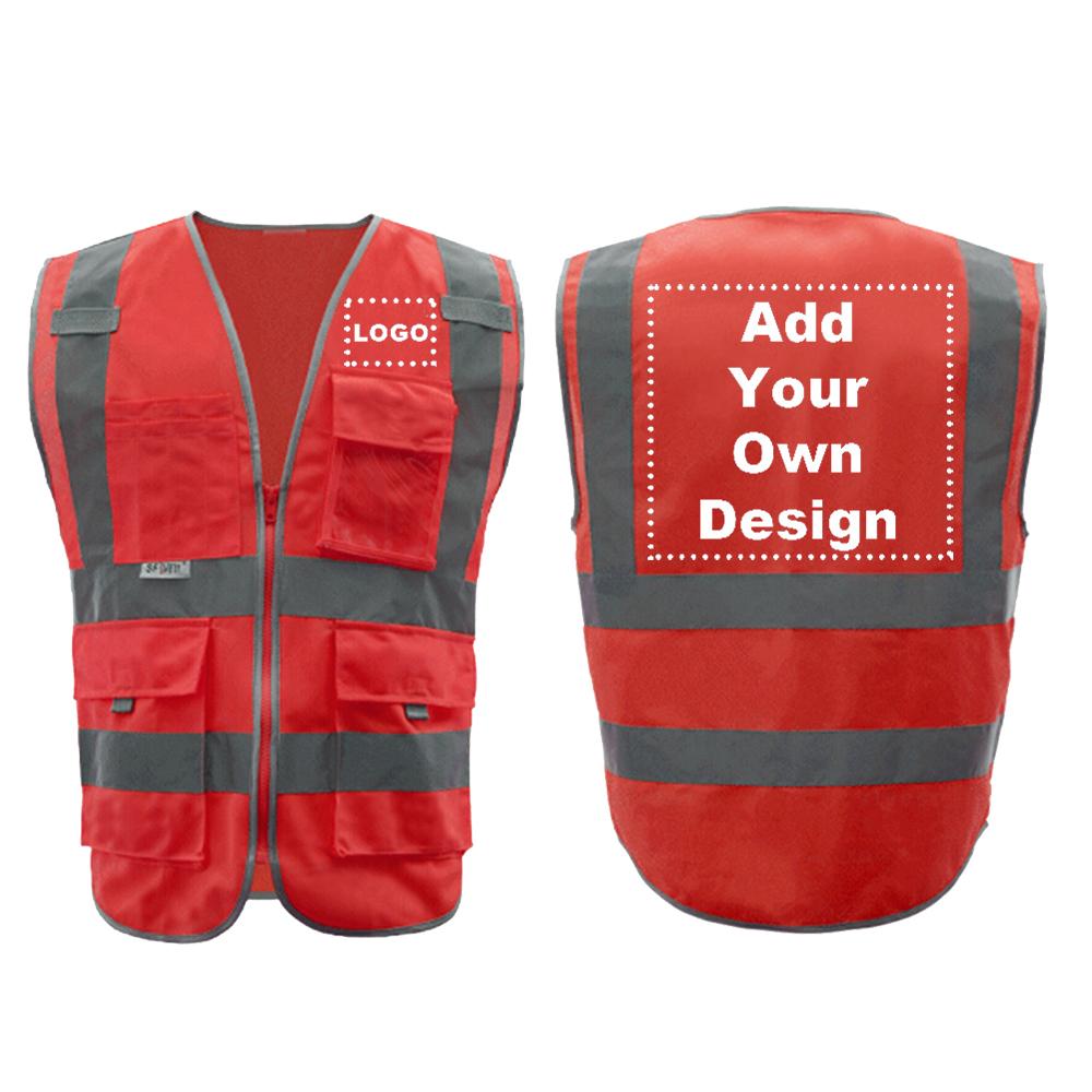 9 Pockets Safety Vest - Red