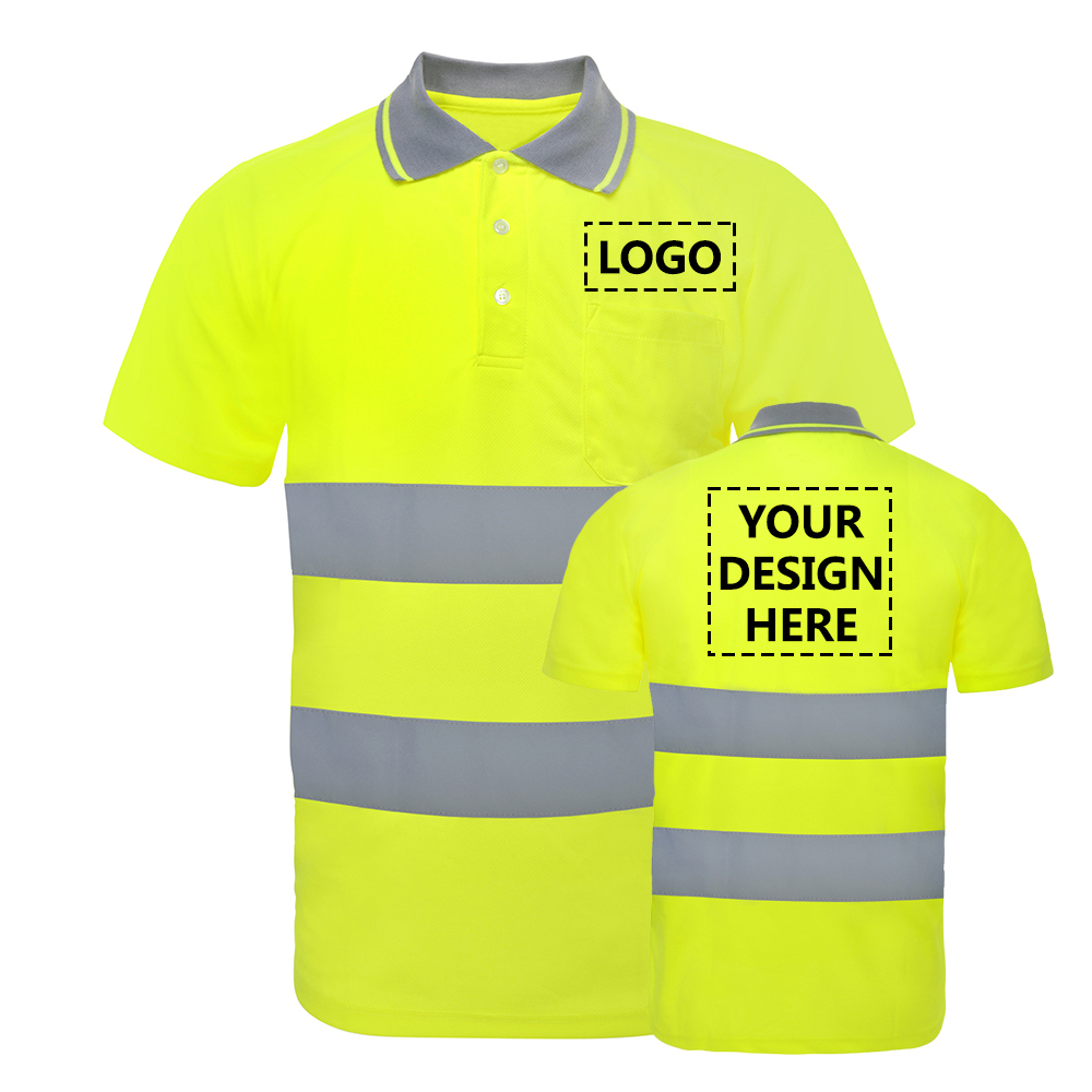 TOPTIE Custom High Visibility Reflective Short Sleeve Polo Shirt