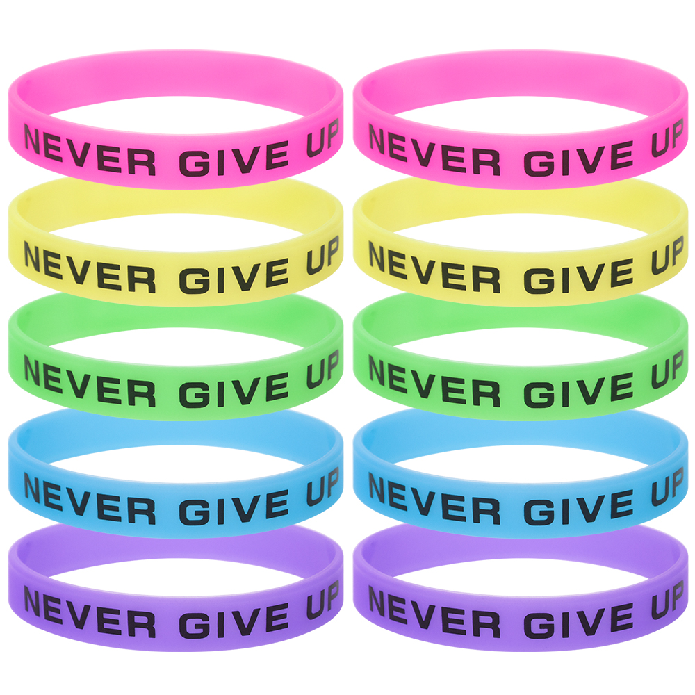 2 Pcs Assorted Silicone Wristbands Wrist Bands Rubber Bracelets