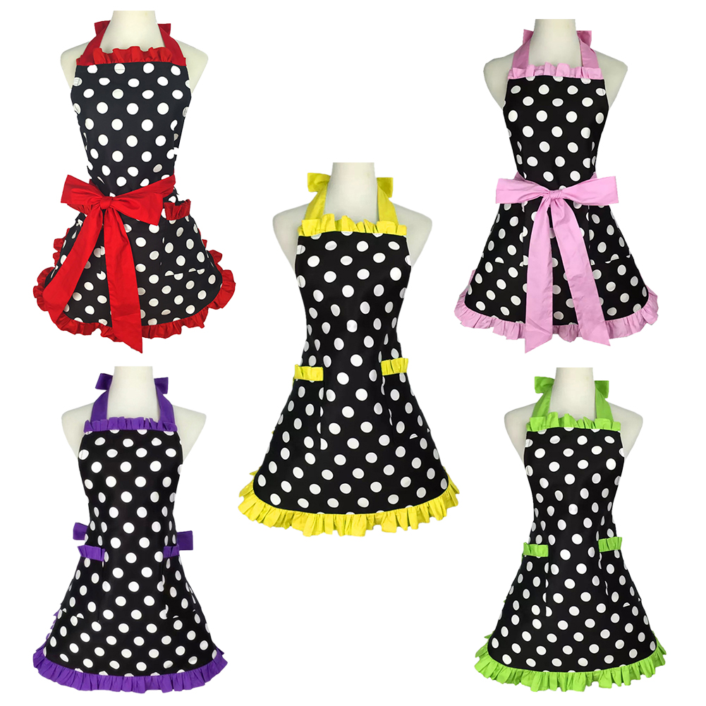Opentip.com: Aspire Kitchen Apron For Women Retro Polka Dots Cooking Aprons  Cafe Working Aprons
