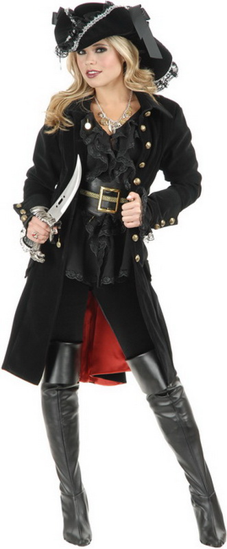 Charades South Seas Pirate Black Coat with Grey Collar /& Cuffs Adult Costume