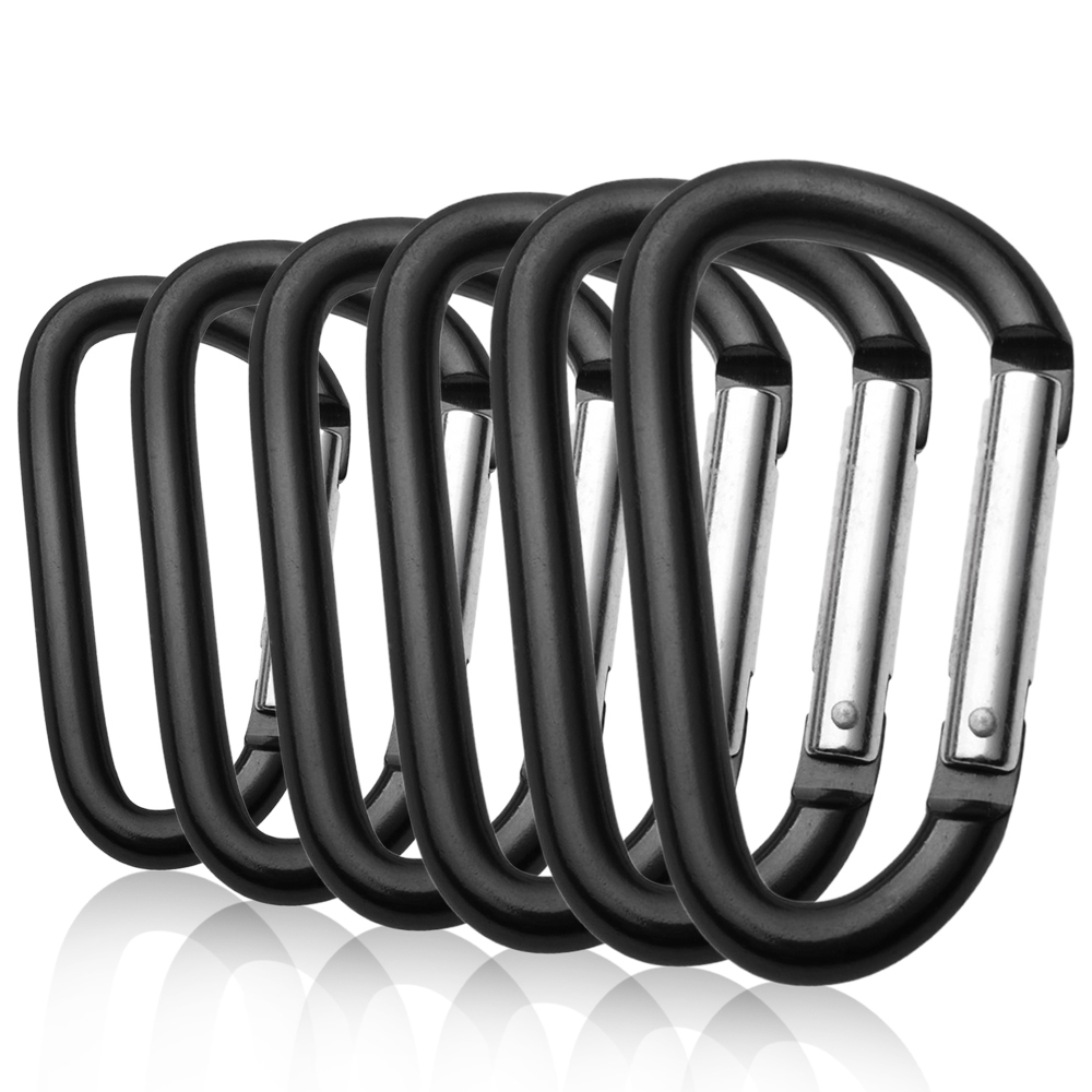 Gisdanchz 48 x 24mm Mini Small Aluminum Alloy D-Shaped Carabiner Clip Hiking Camping Fishing Easy Keychain Holder for Backpack